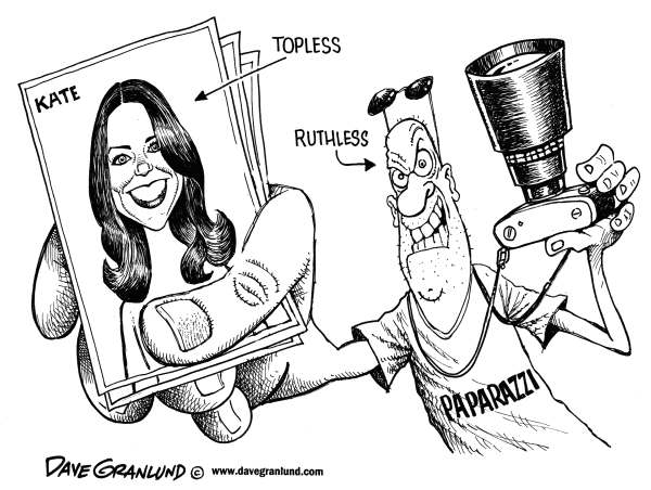Dave Granlund - Politicalcartoons.com - Kate and paparazzi - English - Paparazzi, media, photos, topless photos, nude, publish, courts, suit, royal, uk, william, princess, princess kate, couple, privacy, photographer