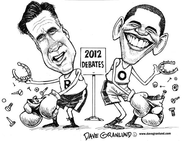 Dave Granlund - Politicalcartoons.com - Romney vs Obama debates - English - 		Obama,romney,gop,debates,denver,gloves,boxing,match,ring,mitt,barack,2012,presidential,white house,oval office,election,democratic,