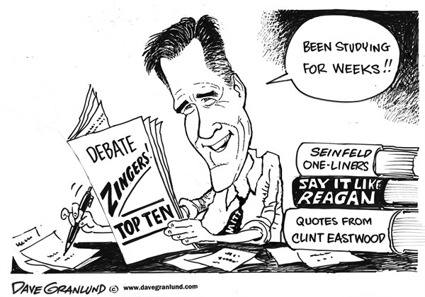 Dave Granlund - Politicalcartoons.com - Romney and debate zingers - English - mitt romney, debates, election, 2012, presidential debates, study, zingers, one-liners, gotchas, message, studying, obama,