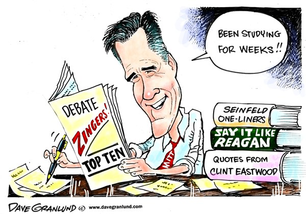 Dave Granlund - Politicalcartoons.com - Romney and debate zingers - English - 	mitt romney, debates, election, 2012, presidential debates, study, zingers, one-liners, gotchas, message, studying, obama