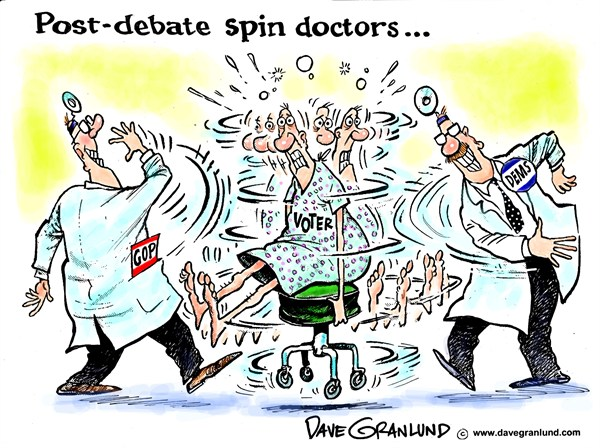 Dave Granlund - Politicalcartoons.com - Post-debate spin doctors - English - Media spin, candidates, Obama, romney, gop, Democrats, Dems, 2012, debates, election, republicans, presidential debates