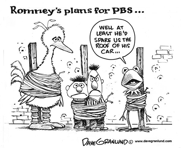 Dave Granlund - Politicalcartoons.com - Romney and PBS - English - mitt romney, romney, mitt, PBS, Public Broadcasting, subsidies, cut, plans, end susidies, federal funds, public tv, conservative, gop, republicans, election, 2012