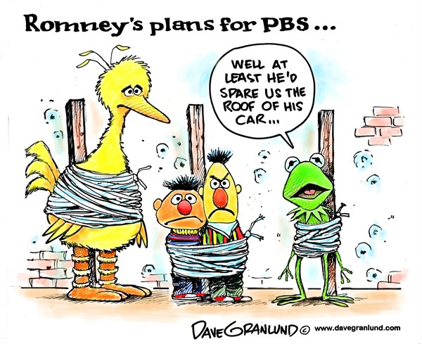 Dave Granlund - Politicalcartoons.com - Romney and PBS - English - mitt romney,romney,mitt,PBS,Public Broadcasting,subsidies,cut,plans,end susidies,federal funds,public tv,conservative,gop,republicans,election,2012,PBS Problems