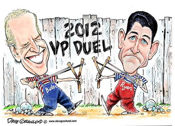 Dave Granlund - Politicalcartoons.com - Biden vs Ryan VP debate - English - Vice presidential debate, VP debate, KY, 2012, Joe Biden, paul ryan, gop, conservative, math, specifics, face off, duel, slingshots, candidates, politics, campaign