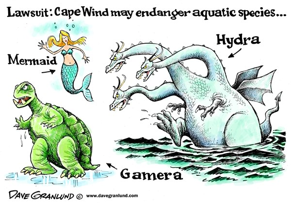 Dave Granlund - Politicalcartoons.com - Cape Cod Wind farm lawsuit - English - Cape Cod, Cape Wind, Lawsuit, endangered species, Aquatic species, opposition,Massachusetts, energy, wind turbines, wind energy, green energy
