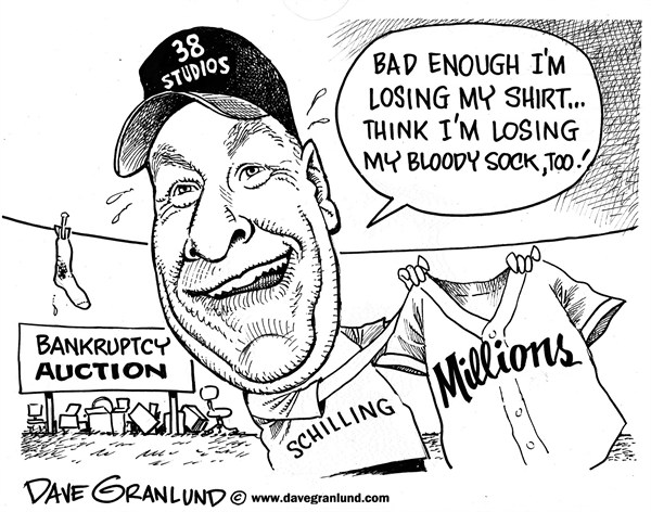 Dave Granlund - Politicalcartoons.com - Curt Schilling bankruptcy - English - 38 studios, losses, RI, MA, Rhode Island, business, auction, computer games,
