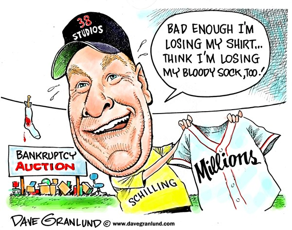 Dave Granlund - Politicalcartoons.com - Curt Schilling bankruptcy - English - 38 studios,losses,RI,MA,Rhode Island,business,auction,computer games,video games,bank loans,RI loans