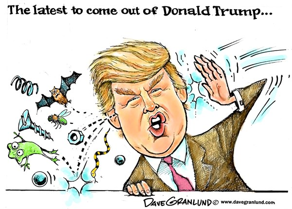 Dave Granlund - Politicalcartoons.com - Donald Trump publicity stunts - English - Media stunts,the donald,trump,camera hog,ego,birther,obama records,press conference,TV,clown,fool