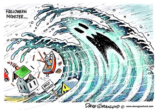 Dave Granlund - Politicalcartoons.com - East coast monster storm - English - Hurricane, Sandy, October storm, Halloween storm, perfect storm, damage, 2012, wind, flooding, coastal flooding, surge, east coast