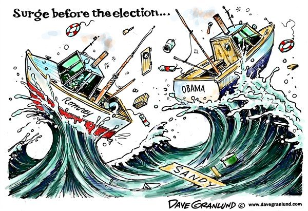 Dave Granlund - Politicalcartoons.com - Hurricane Sandy and Election - English - hurricane sandy,nor-easter,northeast,east coat,monster storm,super storm,perfect storm,politics,romney,Obama,President,rain,wind,presidential election,election day,campaign 2012, final election countdown, frankenstorm, political storm