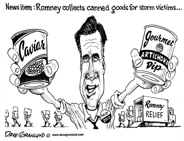 Dave Granlund - Politicalcartoons.com - Romney storm aid - English - mitt romney, willard, canned goods, hurricane aid, Sandy, victims, relief, help, trucks, food drive, gop, republicans, FEMA, campaign, 2012, election