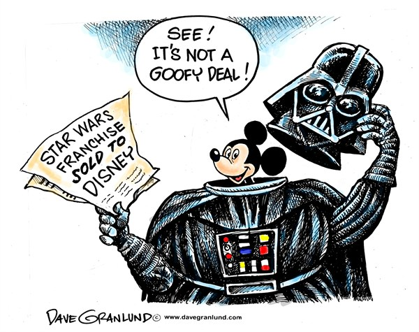 Dave Granlund - Politicalcartoons.com - Disney buys Star Wars - English - Disney, Star Wars, Mickey Mouse, Goofy,movies, empire, franchise, bought, sold to, purchased, disney studios, entertainment