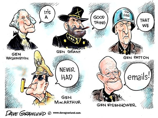 Dave Granlund - Politicalcartoons.com - Generals and emails - English - Petraeus, gen allen, general, US, military, sex scandal, scandal, resign, washington, grant, patton, eidenhower, macarthur, women