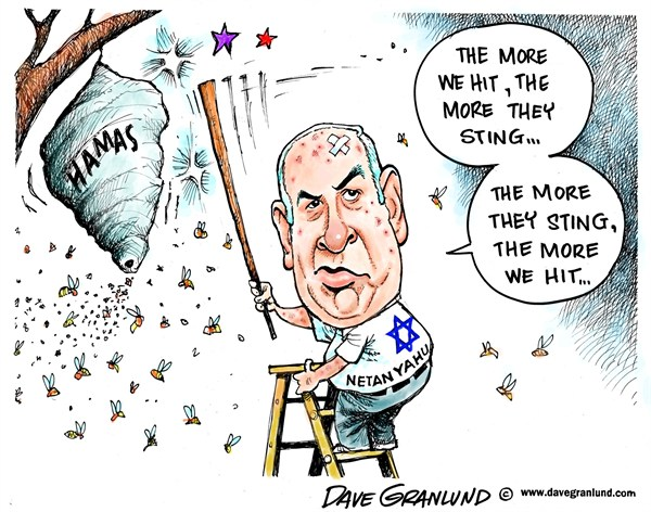 Dave Granlund - Politicalcartoons.com - Israel and Hamas - English - Gaza, israel, netanyahu, rockets, missiles, bombs, civilians, victims, war, conflict, Palestinians, territory, jewish, jews, mideast, middle east, attack, ground forces,