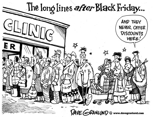 Dave Granlund - Politicalcartoons.com - Black Friday aftermath - English - Black Friday, Shoppers, shopping, crowds, lines, long lines, pushing, shoving, early shopping, Xmas, Christams shopping, Thanksgiving, hurt, throngs, mobs, presents, buyers, buying, stores, malls, injuries, fights, rage, punching, yelling