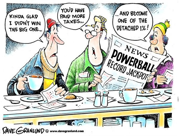 Dave Granlund - Politicalcartoons.com - Powerball losers - English -  Lottery, powerball, record jackpot, gambling, loss, chance, tickets, taxes, 1, one percent