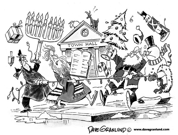 Dave Granlund - Politicalcartoons.com - Holiday display turf war - English - Holidays, jewish, christian, santa, hebrew, nativity, snowman, public property, hanukkah, lights, city square, town square, turf battle