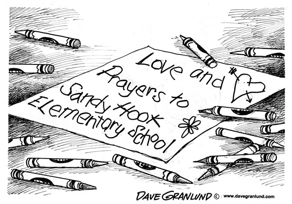 Dave Granlund - Politicalcartoons.com - CT elementary school shootings - English - Connecticut, Sandy Hook elementary, murders, students, children, violence, horror, youth, guns, killings