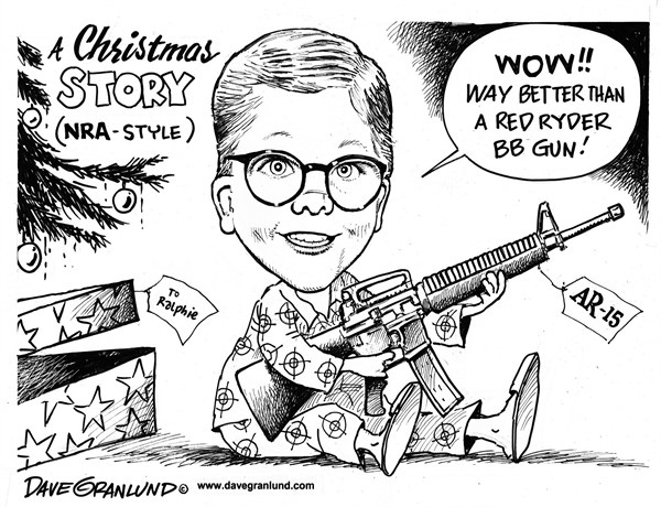 Dave Granlund - Politicalcartoons.com - NRA Christmas Story - English - OLOR , Keywords A Christmas Story, Ralphie, AR-15, Assault rifle, Red Ryder BB gun, Christmas, Presents, children, gun laws, killings, murders, gun culture, NRA, Sandy Hook, kids, weapons, deadly, auromatic, bullets, clips, large clips, massacre,
