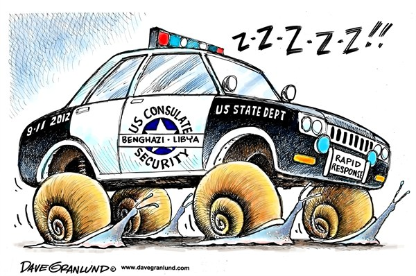 Dave Granlund - Politicalcartoons.com - Benghazi secuity - English - US state dept,state dept,consulate,libya,libyan,attack,2012,sept 11,killed,diplomats,ambassador,no security,faults, benghazi inquiry