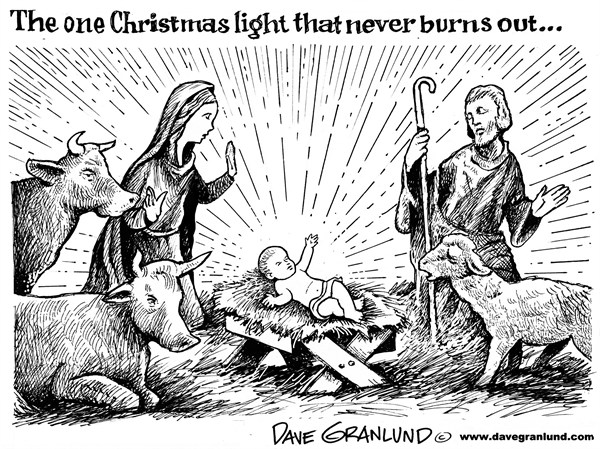 Dave Granlund - Politicalcartoons.com - Christmas eternal light - English - Christmas, Christian, born, light, Christ Child, Mary, Joseph, baby, manger, traditional, holiday