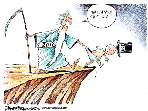 Dave Granlund - Politicalcartoons.com - New Year 2013 advice - English - New Year, New years, 2013, new year baby, father time, cliff, fiscal cliff, warning, new years baby, step