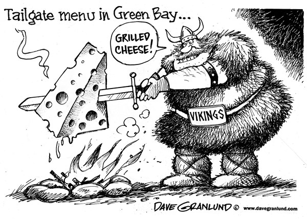 Vikings vs Packers playoffs © Dave Granlund,Politicalcartoons.com,Vikings, Packers, Minnesota, Green Bay, MN, WI, NFL playoffs, cheeseheads, cheese, tailgating, tailgate, football, gridiron, pto football