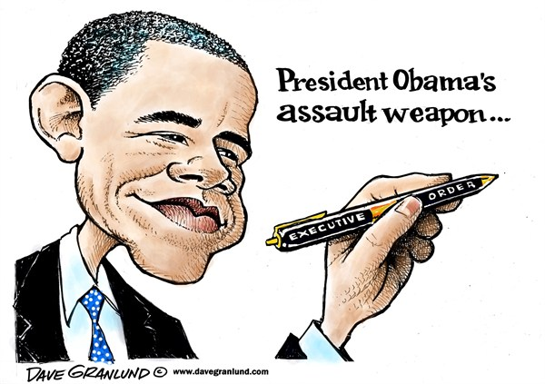 Dave Granlund - Politicalcartoons.com - Obama and gun control - English - Guns, gun control, clips, maazines, bullets, rounds, weapons, executive orders, executive action, bans, background checks, gun shows, assault weapons, assault rifles, Barack Obama, president