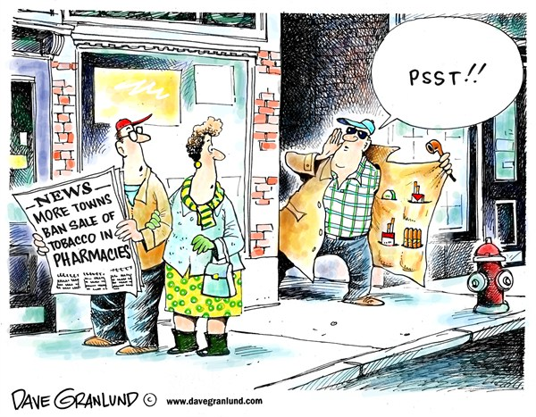 Pharmacy tobacco sales © Dave Granlund,Politicalcartoons.com,Pharmacy,Pharmacies,tobacco,cigars,chewing tobacco,pipe tobacco,chaw,blunts,cigarettes,smokes,smoking,cities,towns,boards of health,bans,drug store,drug stores,rx,Rx,local bans