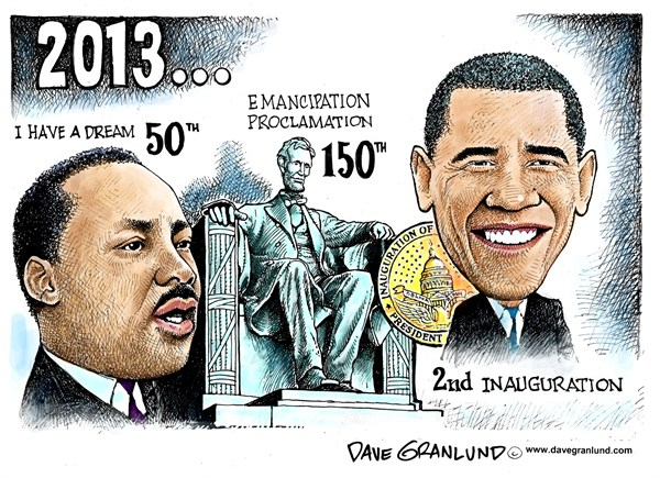 Obama 2nd Inauguration © Dave Granlund,Politicalcartoons.com,MLK,Martin Luther King jr,Dr King,Rev King,Emancipation Proclamation,Obama,oath,2013,Oath of office,second inaugural,president,Lincoln,Abe Lincoln,I have a dream,free the slaves,Martin Luther King, martin luther king jr 2013