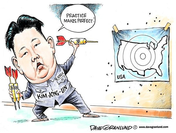 North Korea threatens US © Dave Granlund,Politicalcartoons.com,North Korea,N Korea,Missile test,nuclear,nuke,missile launch,kim jong un,leader,USA,United States,threat,sabre rattling,long range missile