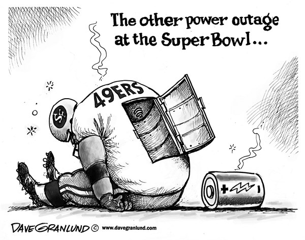 Dave Granlund - Politicalcartoons.com - Super Bowl power outage - English - Super Bowl, Power outage, lights out, dark, Ravens, San Francisco, CA, Baltimore, championship, 49ers, power loss
