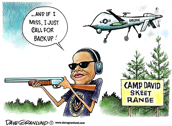 Dave Granlund - Politicalcartoons.com - Obama and skeet shooting - English - Barack Obama, camp david, Drones, Drone strikes, US drones, stealth, skeet shooter, skeet shooting, guns, shotgun, weapons