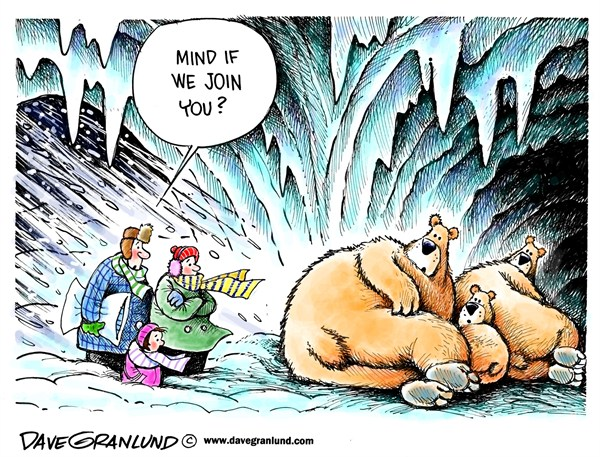 Dave Granlund - Politicalcartoons.com - Blizzard shelter - English - Blizzard, snowstorm, monster storm, nemo, mega storm, heavy snow,