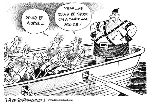 Dave Granlund - Politicalcartoons.com - Carnival Cruise fiasco - English - Carnival Cruise, ship, vacation, passengers, mess, sewage, engine, fire, drifting, no power, angry, travel, stranded, services, dirty, feces, toilets