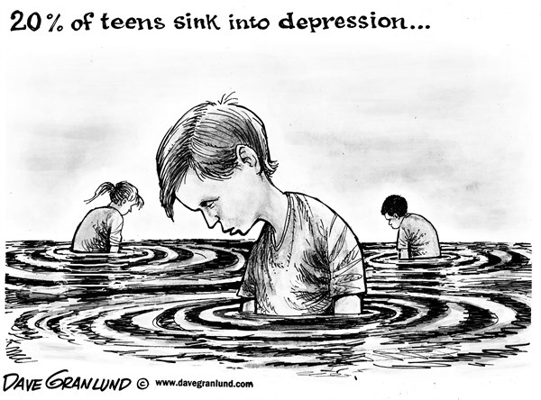 Dave Granlund - Politicalcartoons.com - Depressed teens - English - teenagers, adolescents, depression, suicide, bullying, moods, self, sadness, teens, sinking, feelings, hopeless