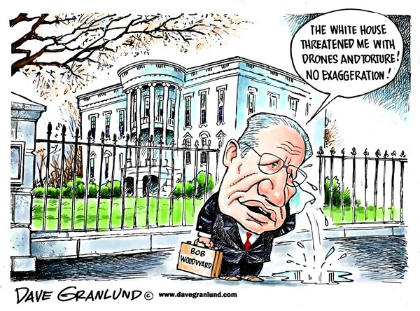 Dave Granlund - Politicalcartoons.com - Woodward and WH threat - English -  White House threat, Bob Woodward, Sequestration, story, regrets, obama white house, exaggeration, threats