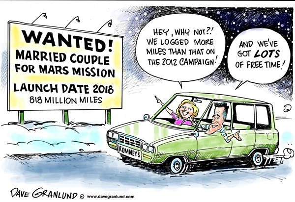 Dave Granlund - Politicalcartoons.com - Mars mission couple - English - couple, mars mission, 2018 mission to mars, anne,space ship, red planet, married couple