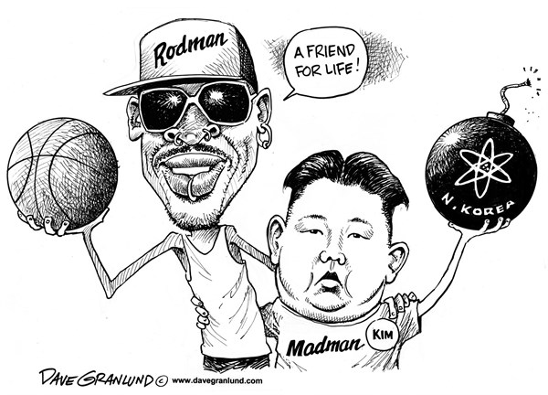 Dave Granlund - Politicalcartoons.com - Rodman and Kim Jong-un - English - N Korea, North Korea, Kim, Jong, Communist, nukes, nuclear, warheads, nuke testing, nuke missiles, nuke bomb, dennis rodman, basketball, friend for life, friend, madman, menace