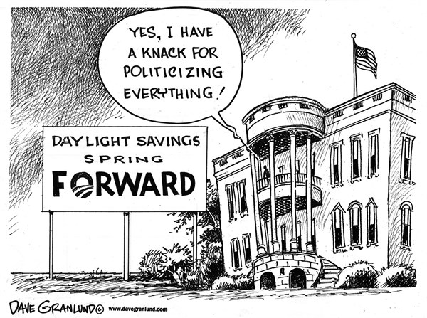 Dave Granlund - Politicalcartoons.com - Daylight savings spring forward - English - Obama, Barack Obama, President, clcks, turn clocks, daylight savings, ahead, forward, Obama forward, politicizing, politicized, clocks forward, campaigning, politics