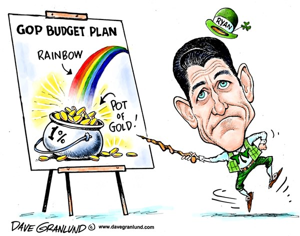 Dave Granlund - Politicalcartoons.com - Ryan pot of gold budget - English - Paul Ryan, gop, republican, republicans, cuts, budget cuts, 10-year, 1, one percent, 99 ,st patricks, st patricks, irish luck of the irish, paddy, st paddy, shamrock, green