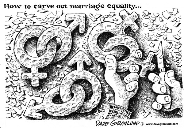 Dave Granlund - Politicalcartoons.com - Marriage equality - English - Gays, Lesbians, homosexuals,gay marriage, marriage, prop 8, supreme court, proposition 8, gay wedding ban, gay, lesbian, unions, rights, gay rights, right to marry, states, legal, partners, spouses