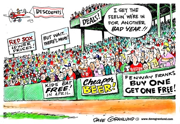 Red Sox discounts and freebies © Dave Granlund,Politicalcartoons.com,Red Sox, Fenway, Boston, New England, losing, cheap beer, free kid food, freebies, fans, bad season, perks, tickets, food, lower, hot dogs, MLB, baseball,