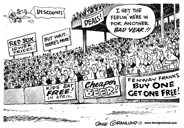 Dave Granlund - Politicalcartoons.com - Red Sox discounts and freebies - English - Red Sox, Fenway, Boston, New England, losing, cheap beer, free kid food, freebies, fans, bad season, perks, tickets, food, lower, hot dogs, MLB, baseball,