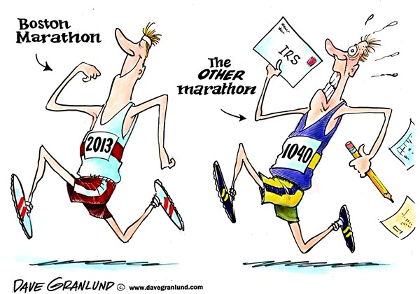 Dave Granlund - Politicalcartoons.com - Marathon time - English - Boston marathon, tax time 1040, irs, taxpayer, deadline, mid april, april 15, income taxes, runners, marathoners