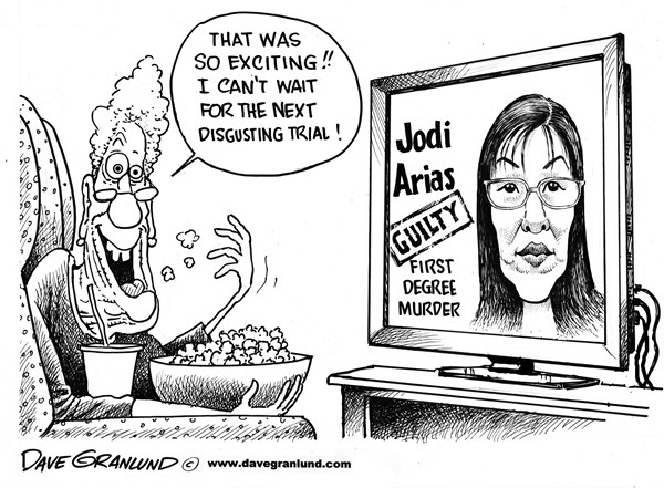 Dave Granlund - Politicalcartoons.com - Jodi Arias verdict - English - Murder trial, first degree murder, crime, stabbing, shooting, slitting, gross, disgusting, evil, killer, boyfriend, TV viewers, vultures, entertainment, grisley, liar, court, jury, verdict, killer, suffering, victim