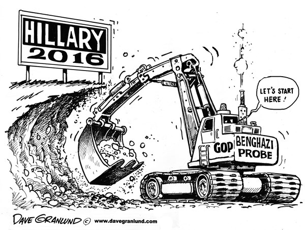 Dave Granlund - Politicalcartoons.com - Benghazi probe - English - Benghazi, probe, attack, terrorist attack, rewrite, CIA, FBI, State Department, Hillary Clinton, deaths, killed,Obama, White House, Rice,gop, witch hunt, emails, republicans, boehner, response, 2016, political