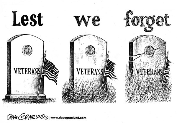 Dave Granlund - Politicalcartoons.com - Memorial Day  - English - Lest we forget, apathy, memorial day weekend, soldiers, fallen, combat, war, sacrifice, dead, honor, respect, flag, forgotten, remember, veterans, vets, cemetery, military, service, armed forces, battle, comrades