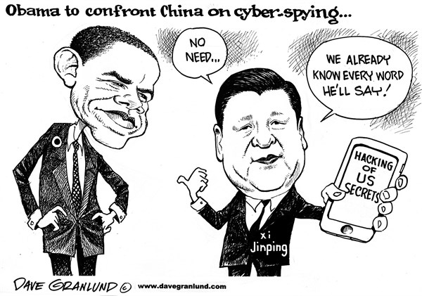 Dave Granlund - Politicalcartoons.com - Obama and China cyber hacking - English - Barack Obama, Xi jinping, Chinese, Chinese president, peoples republic, spying, us secrets, top secret, hackers, weapon systems, stolen secrets, pentagon, computers, government secrets, security
