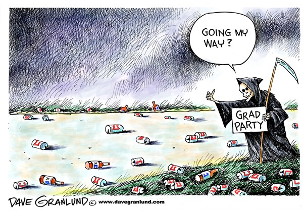 Dave Granlund - Politicalcartoons.com - Graduation parties - English - Grads, high school, college grads, parties, booze, alcohol, drinking, kegs, under age drinking, binge driking, drunk driving, fatalities, teen deaths, road fatalities, killed, accidents, car crashes, intoxicated, dwi, dui, celebrations, class parties